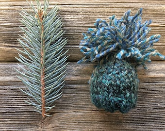 Miniature Knit Hat- One Knitted Cap- Miniatures- Doll, Pet- Teal, Forest Green, Grey- Ready To Ship- Rustic Holiday Decor
