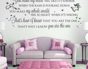 Kodaline The One Lyrics Wall Sticker Decal Art