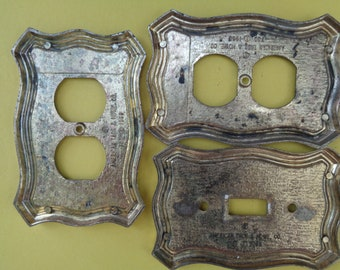 Vintage Bronze 1968 American Tack & Hdwe Co Matching designs of set three a switch plate, 2 electrical outlet wall covers