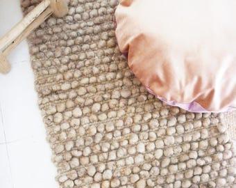 Small Handwoven Wool Rug Beige-Brown