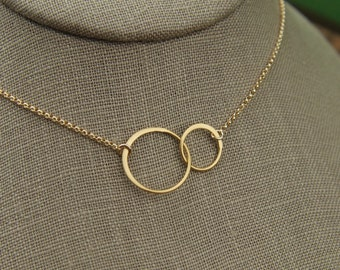 Gold linked together circles and gold filled necklace, gold rings, two circles, joined ring necklace, gold necklace, mother's day