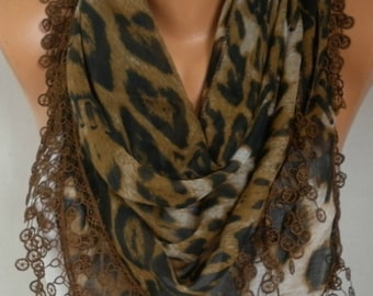 Mother's day Gift,Brown Leopard Print Cotton Scarf,Bohemian, Women Shawl Scarf  Necklace Cowl,Gift  For Her