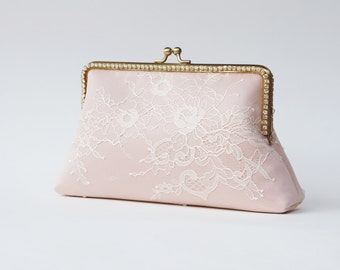 Blush Rose clutch / Personalized romance lace clutch / Bridesmaid clutch purse / Wedding Vintage inspired / Wedding clutch