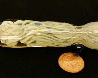 Inside out, color changing, borosilicate glass chillum with flattened mouthpiece