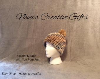 MIRAGE with YOUR Choice of Pom Pom  -  Warm, Cozy Winter Hat