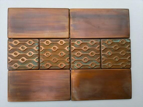 Kupfer Grüne Patina küchenwand patiniert 8er set kupfer fliesen 4 grüne patina