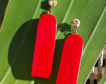 Wood and red acrylic earrings