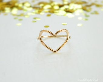 Heart Ring, Anniversary Ring, Engagement Ring, Open Heart Ring, Gold Heart Ring, Heart Shaped Engagement Ring, Rose Gold Heart Ring