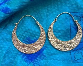 Les boucles d'oreilles demi lune. Boucles d'oreilles ethniques. Boucles d'oreilles tribales. Boucles d'oreilles Gipsy.