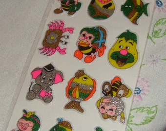 vintage stickers PUFFY GLITTERY 3D package silver head bee fruit mouth crab silver elephant and more 1   nice unused