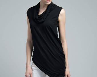 Sleeveless Top / Black Asymmetric Blouse / Black Top / Oversize Party Top / Casual Tunic Top / Marcellamoda - MB0616