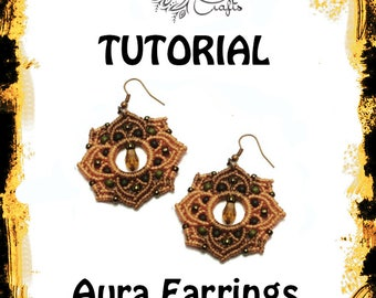 TUTORIAL - Aura Earrings - Macrame pattern - earring tutorial - knotting guide