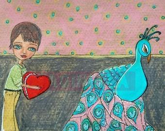 Print of original painting Mixed Media Boy and Bird peacock
