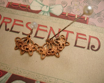 12 art deco style copper dangles 1 loop raw copper charm findings