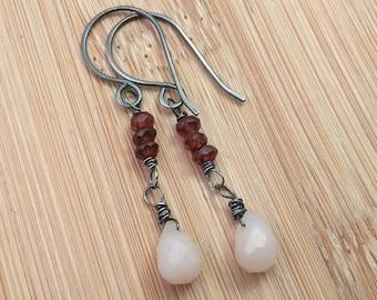 Garnet Earrings. Red Gemstone Earrings. Long Wire Wrapped Oxidized Sterling Silver Earrings Pink Opal Jewelry. Multi Gemstones Gift for Her