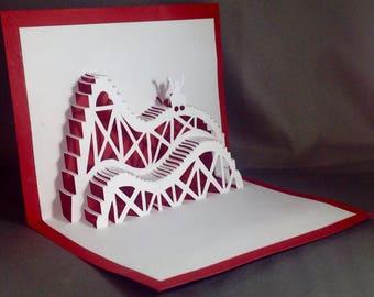 Kirigami 3D Birthday Cards with Roller Coaster Cards | Pop Up Cards Birthday Card for Him | Birthday Card Funny Birthday Card Amusement Park