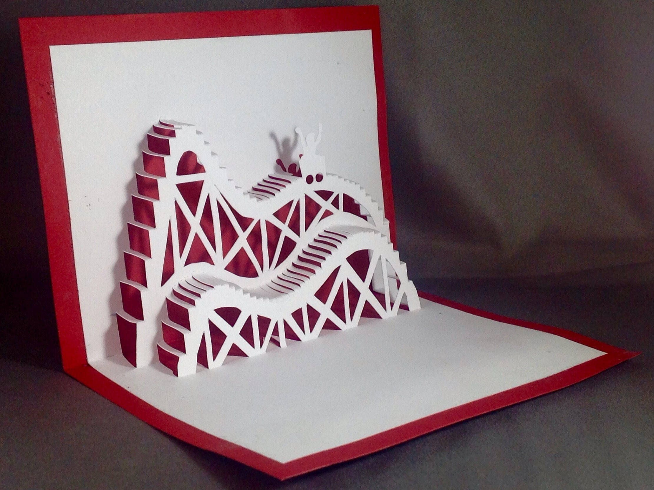 Birthday Cards Funny For Him ~ Kirigami d birthday cards with roller coaster cards pop up
