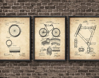 Bicycle Patent Prints Set, Bicycle Wall Art Posters, Cyclist Gift Idea, Cycling Wall Art, Vintage Bicycles Patent, EP03