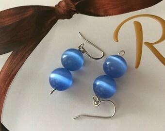 Short Blue Bead Dangle Earrings