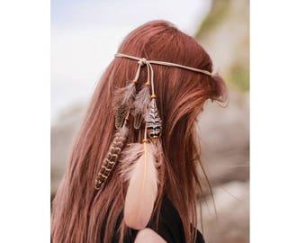 Feather headband , Beach jewelry , Boho headband , Feather accessories , Feather jewelry , Gypsy headband , Native headband Summer headband