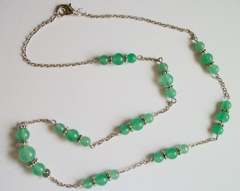 Exquisite Green Aventurine Bead and Silver Chain Necklace