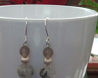 Earrings of silver, agate grey and quartz glittering