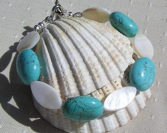 """Turquoise Magnesite & White Mother of Pearl Gemstone Bracelet """"Embo"""", Chakra Bracelet, Summer Bracelet, Magnesite Bracelet, Shell Bracelet"""