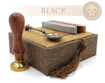 Magic the Gathering Black Mana Symbol Envelope Seal - Wax Stamp Gift Set / Kit