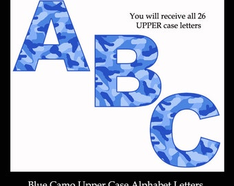 BLUE CAMO LETTER Clipart Alphabet abc Camouflage Digital Graphics Scrapbook Embellishment Scrapbooking Card Making Teacher School Clip Art