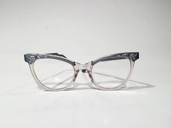 Excellent 60s Aluminum Etched Gray Cat Eye Glasses Frames