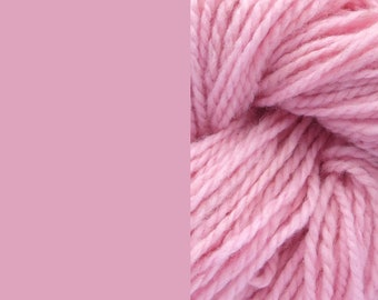 Wool yarn, light pink, bulky 2-ply worsted pure wool knitting yarn 50g/65m cake