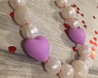 Queen of Hearts Valentines Purple Teething Necklace / Nursing Necklace, Fully Adjustable, BPA FREE
