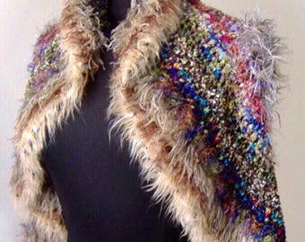 SALE Bohemian Sweater, Hippie Sweater, Tribal Vest, Round Sweater Vest, Art Sweater, Fiber Art Sweater, Unique Sweater,  Boho Sweater, OOAK