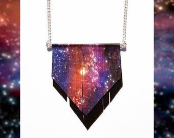Nebula Necklace // Galaxy Necklace // Colourful Purple Pink Red Orange Yellow Nebula Galaxy Pendant