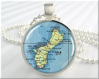 Guam Map Pendant, Resin Charm, Guam Island Map Necklace, Picture Jewelry, Round Silver, Gift Under 20, Map Charm 741RS