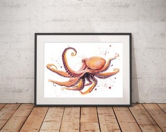 Octopus art print watercolor painting, hand-signed