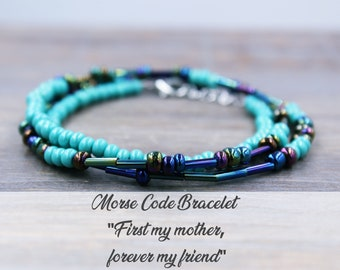 Mother's Day Gift - Beaded Bracelet - Personalized Gift for Mom - Morse Code Bracelet - Personalized Jewelry - Birthday Gift for Mom