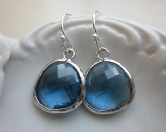Sapphire Blue Earrings Navy Silver Plated - Bridesmaid Earrings - Wedding Earrings - Bridal Earrings