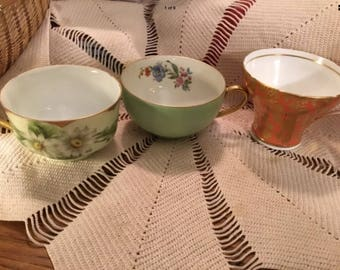 lot of 3 Vintage orphan bone china teacups crafters tea party