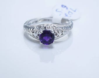 Amethyst Sterling Silver Ring, Natural Round Amethyst, Amethyst Solitaire Ring, February Birthstone, Pantone Color of 2018