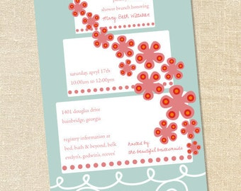 Sweet Wishes Bridal Shower Wedding Cake Party Invitations- PRINTED - Digital File Also Available