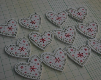 "Wood Christmas Heart Buttons - Wooden Xmas Hearts Button - 1 3/8"" - 12 Buttons"