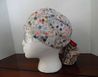 Surgical scrub hat cherry blossoms nurse