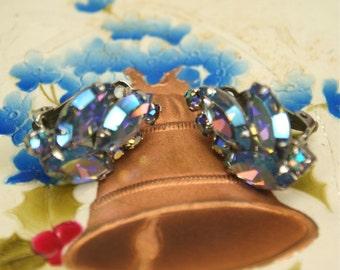 Vintage Blue AB Rhinestone Clip Earrings
