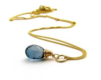 14K gold blue topaz necklace, 14k gold necklace, blue topaz jewelry, solid gold necklace, December birthstone pendant, 14k gold jewelry