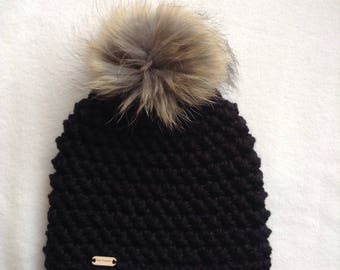 Crochet Beanie, super bulky, very large fur Pom Pom, lined in fleece, black