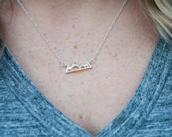Mountain Necklace - Gold Mountain Necklace - Silver Mountain Necklace - Mountain Peaks