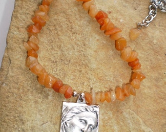Red Aventurine Natural Stone Madonna and Child Pendant Necklace Catholic Gift