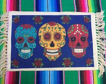 Set of 4 Day of the Dead Placemats - Dia de los Muertos - Virgin Mary - Sugar Skull - La Catrina