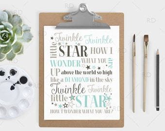 Twinkle Twinkle little star how I wonder what you are - PRINTABLE Wall Art / Twinkle Twinkle Nursery Art / Nursery Print / 3 Color Options